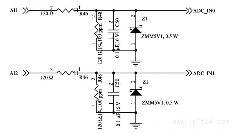 技术综述 03 正文  图5 所示为模拟量输入单元,ADc_iNo 接stm32F1o3