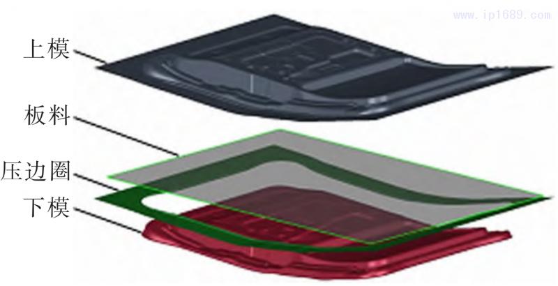 图 2 汽车门内板拉延成形有限元模型