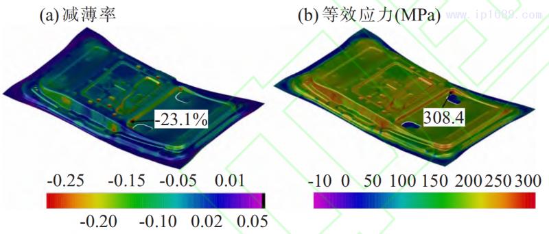 图 6 刺破刀具结构优化后零件减薄率与等效应力的云图