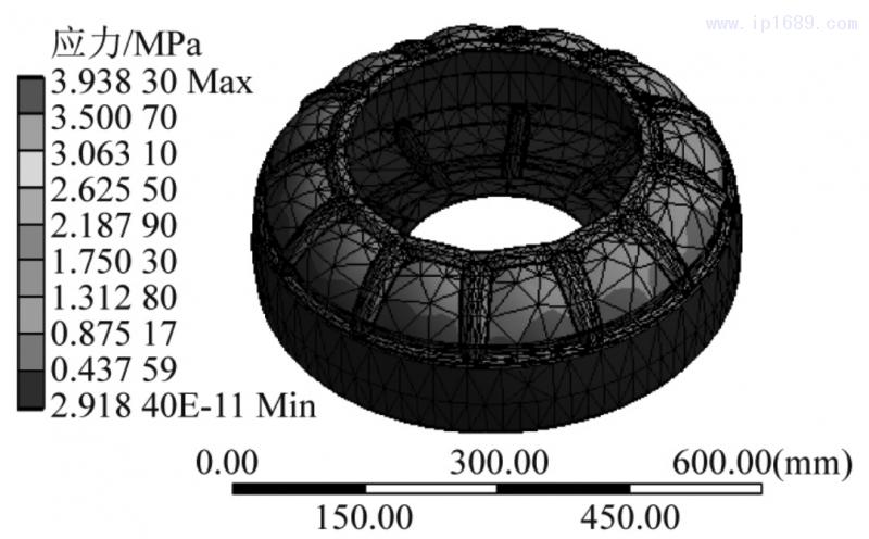 图 11 凸起式加强筋模型结构应力结果