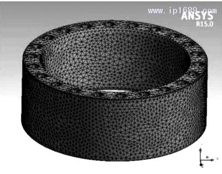 图 8 型 坯壁 厚液 压 缸 筒 网 格 划 分 效果 图