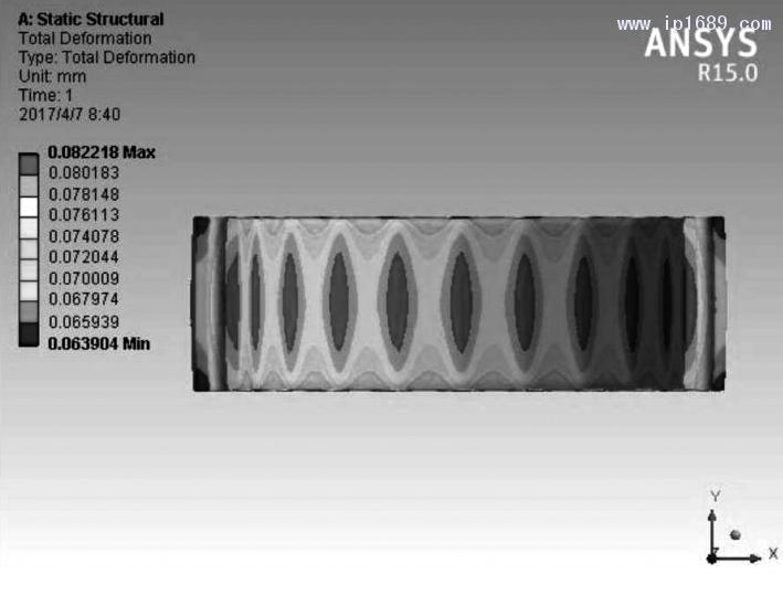 图 1 2 缸 筒 总 变 形云 图