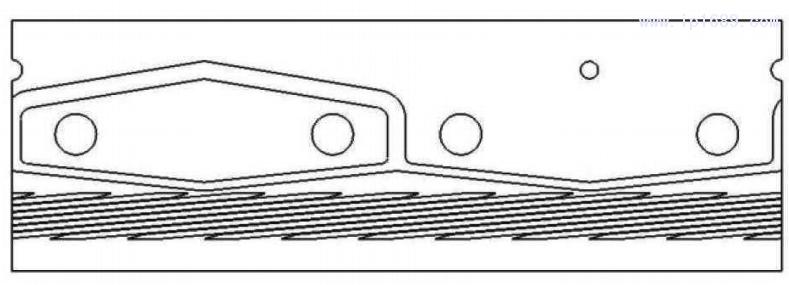 图 1 4 机 头 外 层流道展 开 图