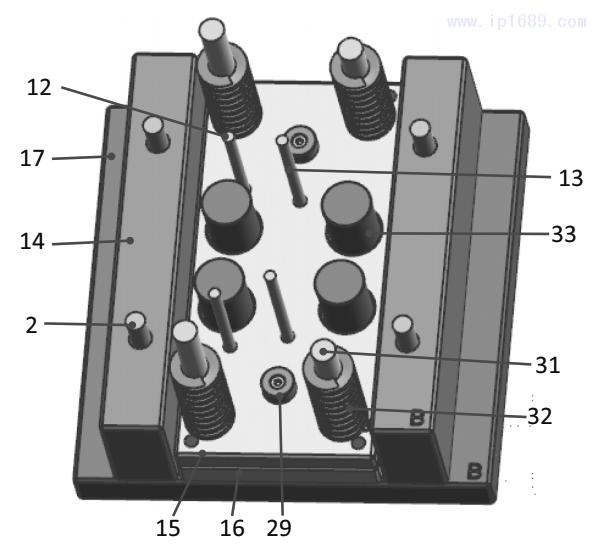 图14 顶出、复位装配结构图